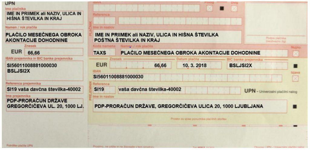 primer UPN za plačilo obroka akontacije davka