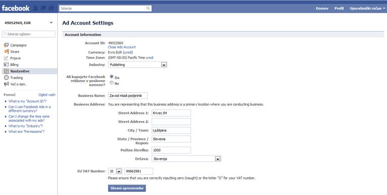 Facebook uredil račune