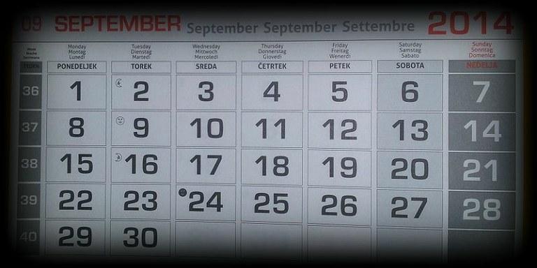 Koledar poslovnih obveznosti - september 2015