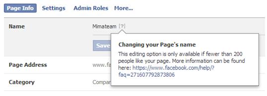 Facebook strani z več kot 200 všečki lahko preimenujemo