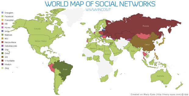 Svetovni zemljevid socialnih omrežij prikazuje vzpon Facebooka