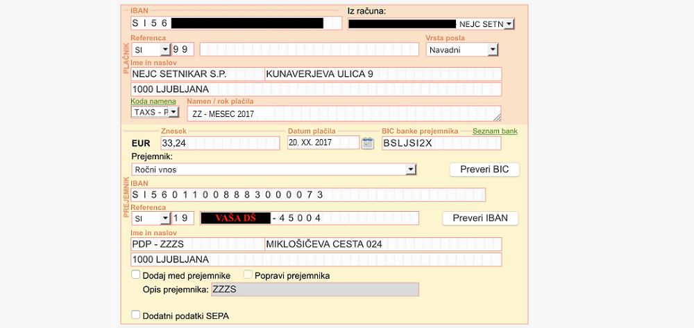 Primer pravilno izpolnjene položnice ZZZS