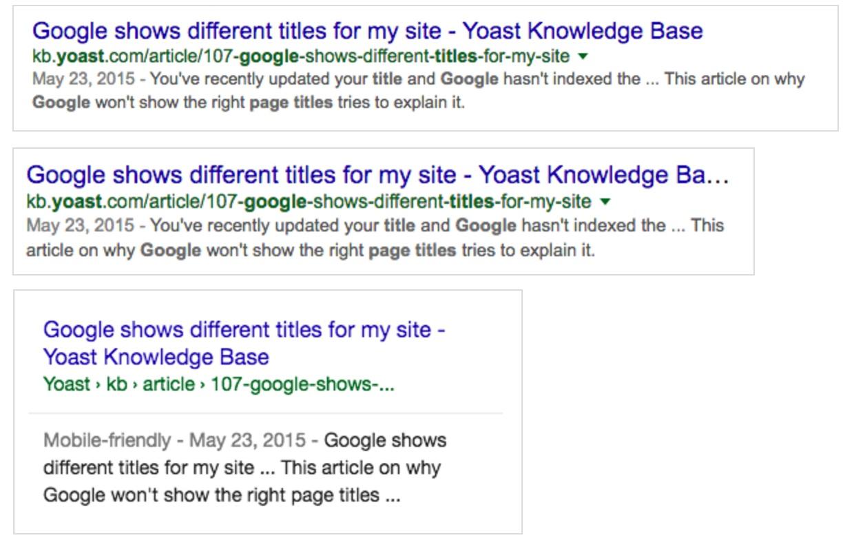 naslov strani - prikaz v 3 različicah