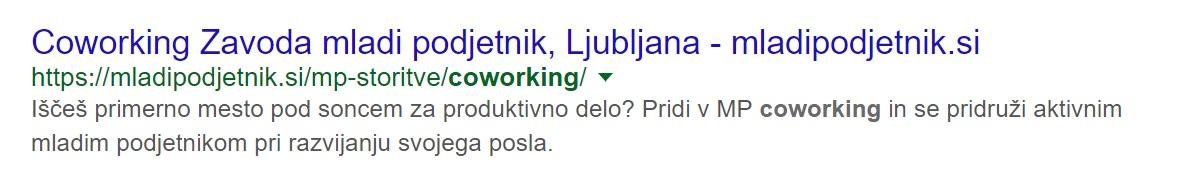 primer naslova v Googlu