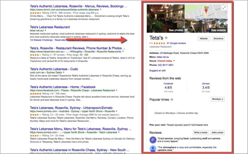lokalni seo - primer restavracije v Google My Business