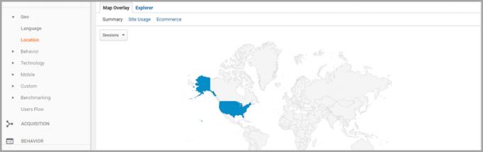 Google Analytics Jezik in lokacija