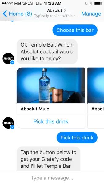 Facebook Messenger Absolut