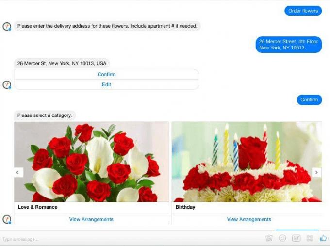 Facebook Messenger Flowers