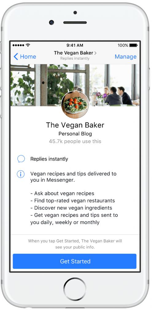 Facebook Messenger Vegan Baker