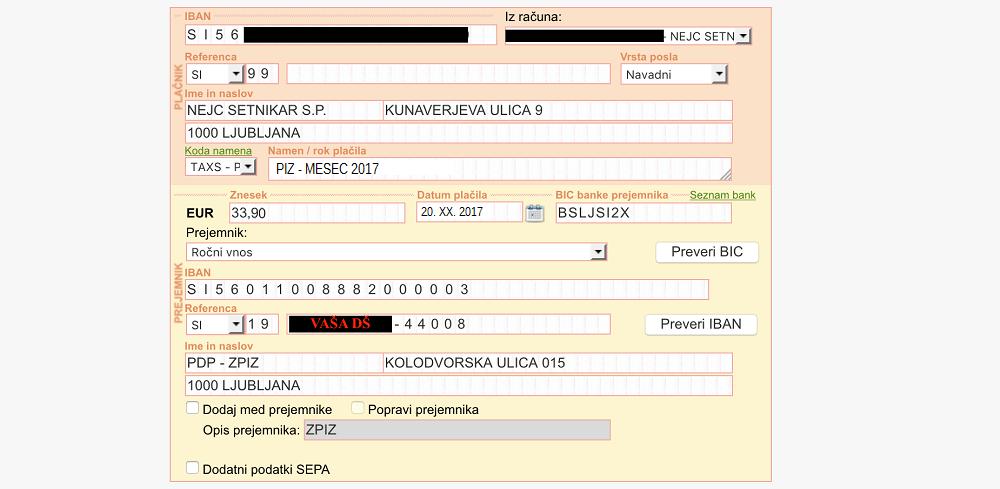 Primer pravilno izpolnjene položnice ZPIZ