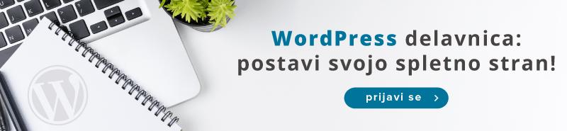 Vabljeni na delavnico o WordPress CMS sistemu in postavite svojo spletno stran.