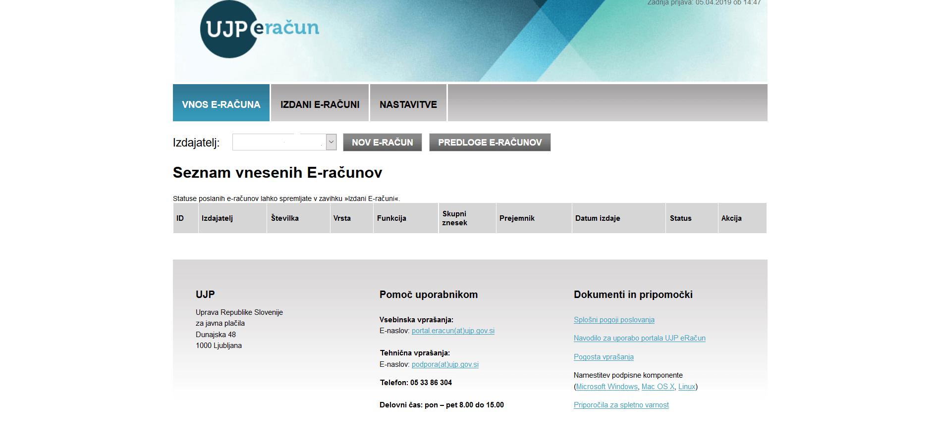 Začetna stran portala UJP