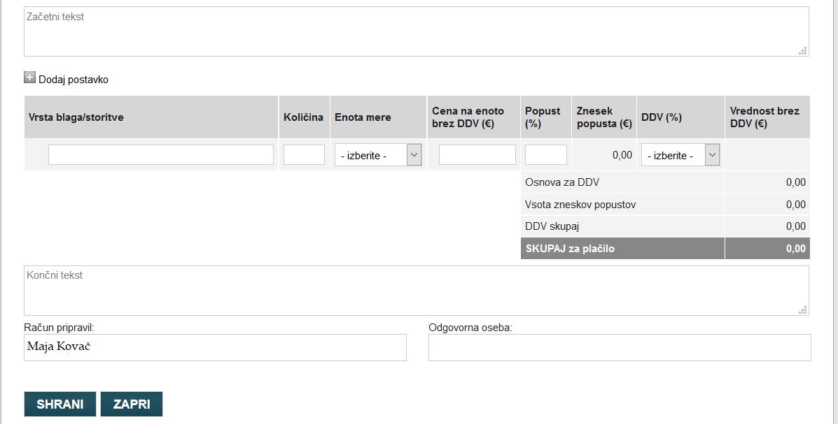 Podatki o opravljenih storitvah / dobavljenem blagu