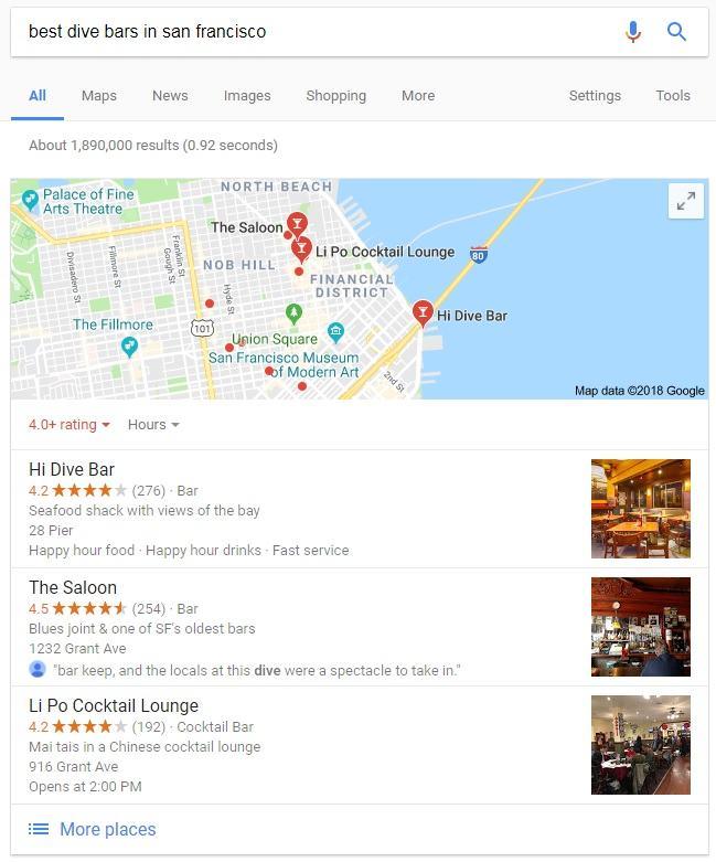 Primer ponujenega Googlovega izbora pri iskanju lokalov v San Franciscu (Vir: brafton.com)